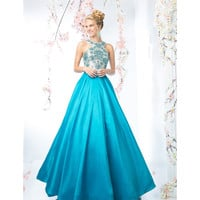 Preorder -  Teal Blue Sexy Embellished Halter Long Gown 2016 Prom Dresses