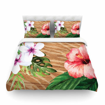 """NL designs """"Vintage Tropical Jungle """" Pink Floral Featherweight Duvet Cover"""