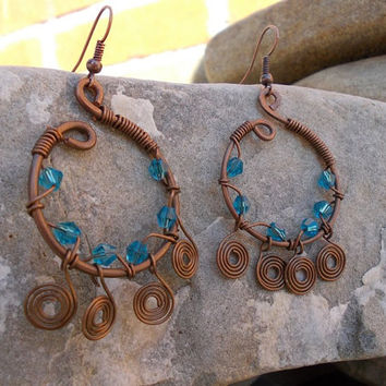 Blue earrings  FREE SHIPPING WORLDWIDE vintage Copper Jewelry Wire Wrapped bead antique Hammered  handmade steampunk bohemian boho