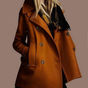 Women's orange  Coat Burnt twill Wool coat double breasted button Coat Jacket Autumn winter coat cloak S-XL
