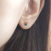 Small Rainbow Circle Earrings, Colourful Circle Earrings, Circle Earrings, Rainbow Circle Studs, Rainbow Studs, Colourful Earrings