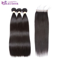Aliexpress.com : Buy Beaudiva Hair Extension 100% Human Hair Bundles With Closure Brazilian Hair Weave Bundles Straight 3 Bundles With Lace Closure from Reliable bundles with closure suppliers on BEAUDIVA Official Store