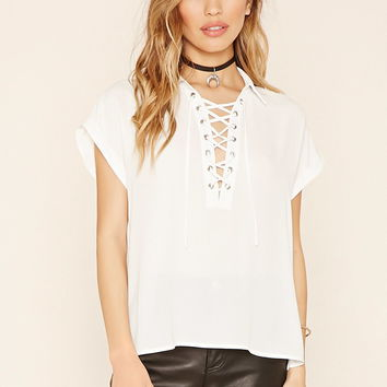 Collared Lace-Up Top