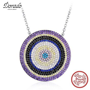 Dorado lasted Arrival Luxury 925 Sterling Silver Full Drill Cubic Zirconia Jewelry Colorful Stone Round Shape Pendant Necklace