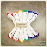 Crochet 100% Cotton Rainbow Wash/Dish Cloth Set~Ready to Ship~FREE SHIPPING