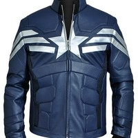 Steve Rogers Captain America Winter Soldier Blue Leather Jacket