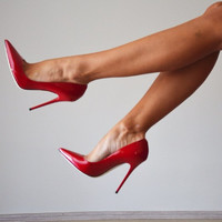 Cindy Red Patent Leather Pumps