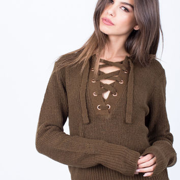 Fuzzy Lace-Up Sweater - Small