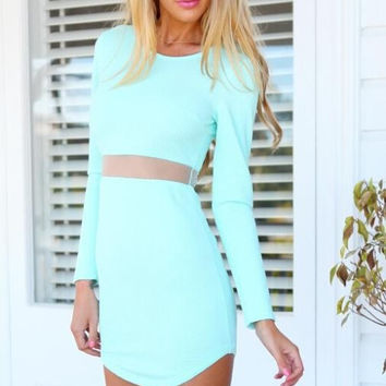 New Women Casual Mini Summer Dress O-neck Long Sleeve Mesh Waist Short Sheath Sexy Dress Plus Size 2 Colors [9857297743]