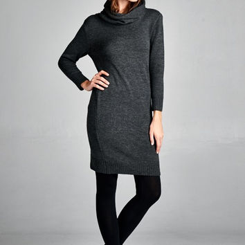 Turtleneck Sweater Dress - Charcoal