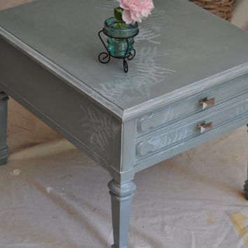 Vintage Side Table in Soft Opalescent Green by TheVelvetBranch