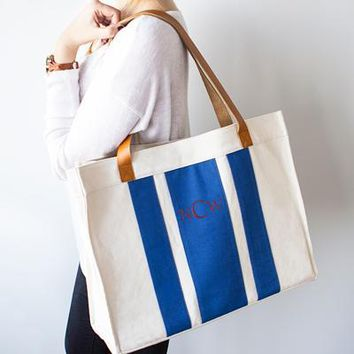 Personalized Blue Stitched Stripe Canvas Tote with Leather Handles