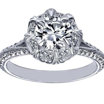 Engagement Ring - Victorian Halo Engagement Ring in 14K White Gold - ES1077