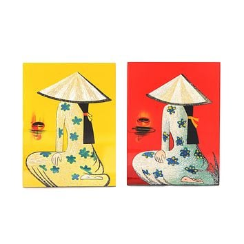 Vietnamese Handmade Lacquer Painting With Eggshell Inlay