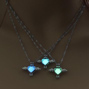 Luminous Angel Wings Heart Pendant Necklace Glow in the Dark Vintage Silver Color Chain For Women LOVE Necklaces