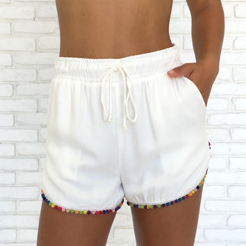 Array of Colors Shorts in White