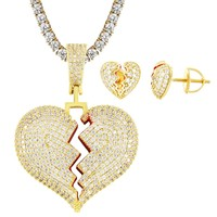 Broken Heart Red Solid Back Pendant Chain Earrings Combo
