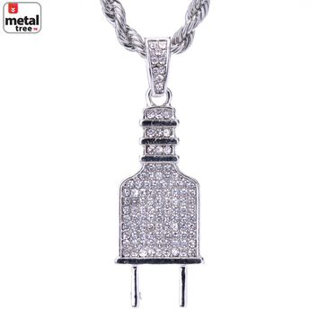 """Jewelry Kay style Hip Hop Silver Plated Iced Out Electric Plug Pendant Rope Chain 24"""" HC 1124 S"""