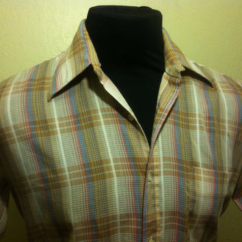 1980's Retro Mervyn's European Fit Tan and Brown Checkered Stripped Mens Casaul Shirt