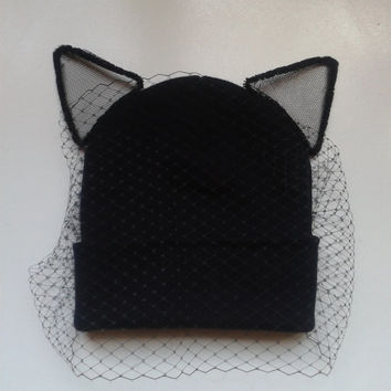 Cat Ear Beanie Hat with Veil - Veiled Beanie Hat Rihanna Cara Miley beanie with veil birdcage fascinator to front