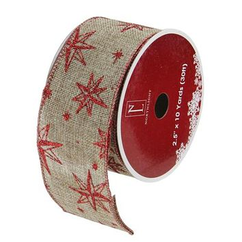 "Sparkling Gold Lines Wired Christmas Craft Ribbon 2.5"" x 10 Yards"