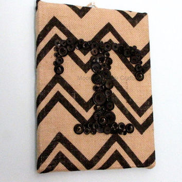 Initials - Button Art Initials on Chevron Burlap - 9x12 canvas, Monogram, Personalized Wall Art, Burlap on Canvas, Hand Sewn