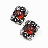 Vintage Niels Erik From Sterling Silver & Cognac Amber Clip Earrings, Floral, Signed NE From, Denmark, Early Rare Beauties! #c463