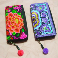 Peony wallet hot pink blue embroidery zipper tribal purse, wallet with zipper around