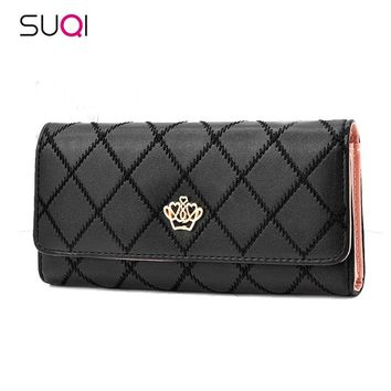 2018 New Long Women Wallet Embroidered Crown Fashion Purse Female Clutch Multi Card holder Phone Pouch Zipper Portefeuille Femme