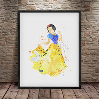 Snow white print, Disney Princess, Disney Art, Wall Art, Disney print, Watercolor poster, Watercolor print,  Disney watercolor, Disney - a1