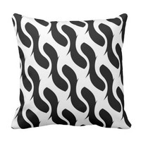 black Abstract pattern Throw Pillow