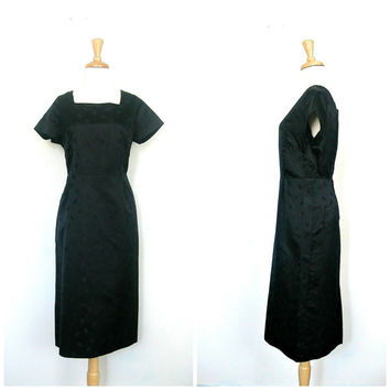 1960s Black Party Dress / 60s dress / black satin / lbd / shift dress / sheath / mad men dress / alternative wedding / cocktail dress / med