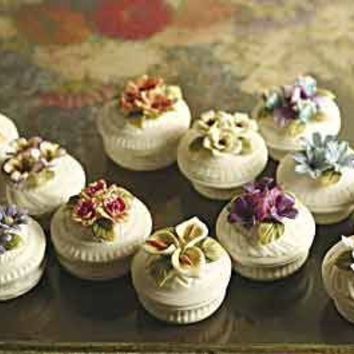 12 Bisque Floral Favor Boxes