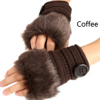 Fashion Fur Fingerless Knit Hand and Wrist Gloves