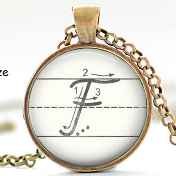 Initial F Necklace, Back to School, Teacher Gift, The Letter F Art Pendant, Cursive School Handwriting Charm, Alphabet Necklace