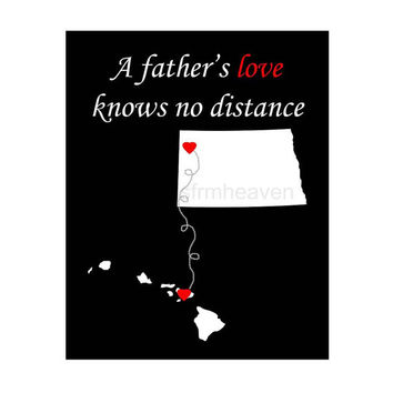 A father's love map print- Father's Day print, grandfather grandpa, grandma mothers day, hearts states map, states map canvas