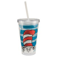 """Vandor 17351 Dr. Seuss """"Cat in the Hat"""" 18 oz Acrylic Travel Cup with lid and Straw, Multicolor"""