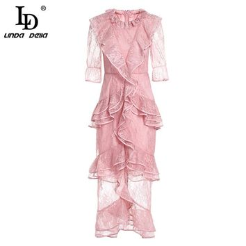 LD LINDA DELL New 2018 Elegant Pink Lace Dress Women's Tiered Ruffles Bodycon Mermaid Long Party Dress High Quality