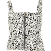 River Island Womens Black daisy print zip front top