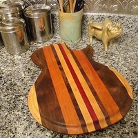 Handmade Wood Rockin Guitar Cutting Board - LP Style - Brazilian Cherry & Bloodwood