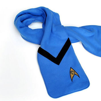 Blue Star Trek Science Officer Fleece Scarf by YellowBugBoutique