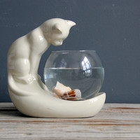 Rare Perched Cat Fish Bowl