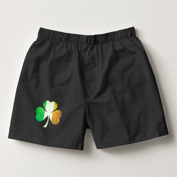 Grungy Three-Leaf Clover in Irish Flag Colors Boxers