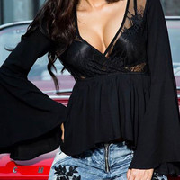 Black Wrap V-neck Sheer Lace Panel Flare Sleeve Peplum Blouse