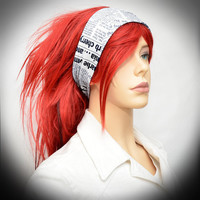 Black and white newspaper print stretchy headband