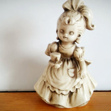 Wolin Japan Bell Chalk ware Victorian girl, Vintage Bell Figurine Tea Time Japan