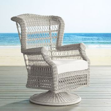 Sunset Pier Parchment Swivel Rocking Chair