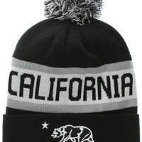 California Republic Bear Cuff Pom Pom Beanie Knit Hat Cap - Many Colors (One Size, Black Whtie)