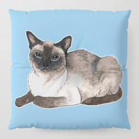 Siamese cat Floor Pillow by savousepate