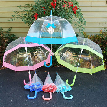 SALES Custom Personalized Umbrella, Monogrammed Umbrella, Clear Umbrella, Dome Umbrella, Bridesmaid Gift, Ladies Umbrella